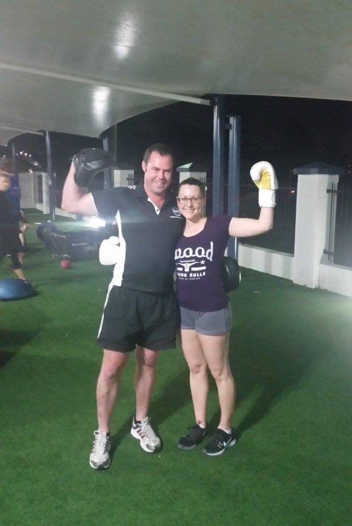 Personal trainer Cannon Hill QLD 4170 Fit health weight loss toned fitness strong healthy Kirrily after boxing training. 3rd Nov 2016